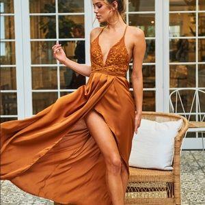 Hello Molly Pure Desire Maxi dress in Camel